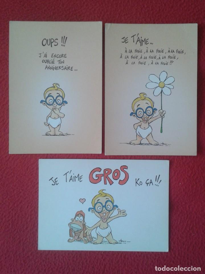 LOTE DE 3 POSTALES POST CARDS CARTES POSTALES POSTKARTES LES ENFANTS LA TELE JE T´AIME....., FRANCE (Postales - Dibujos y Caricaturas)