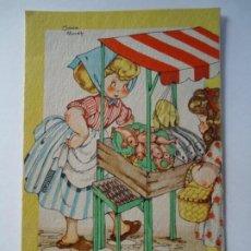 Postales: 1946 POSTAL COLECCIÓN MARÍA CLARET SERIE P Nº 2 A LA COLA, SEÑORA, QUE ES LO QUE CORRESPONDE A LA ME. Lote 261193610