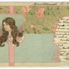 Cartes Postales: POSTAL ARTISTICA DIBUJADA, ESPAÑA, MODERNISTA, SIN DIVIDIR, CIRCULADA CON SU SELLO. Lote 264081230