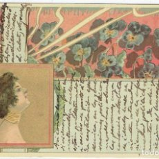 Cartes Postales: POSTAL ARTISTICA DIBUJADA, ESPAÑA, MODERNISTA, SIN DIVIDIR, SIN CIRCULAR, SELLO DE FAVOR. Lote 264081345