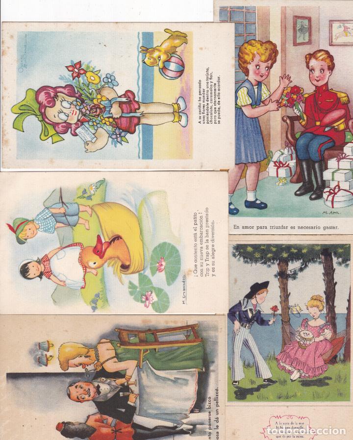 LOTE DE 8 POSTALES CARICATURAS LAS DE LAS FOTOS VER FOTOS ADICIONALES (Postales - Dibujos y Caricaturas)