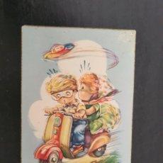 Postales: DIBUJO DE NIÑOS MONTADOS EN UNA MOTO VESPA. C Y Z. BARCELONA. Lote 268855019