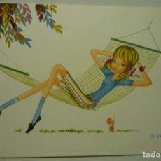 Postales: POSTAL JOVEN EN HAMACA.-DIBUJO SYLVIA ESCRITA. Lote 268900384