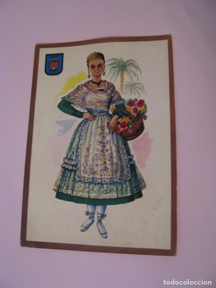 POSTAL DE ALICANTE. TRAJES. TIPICA. OSCAR COLOR. Nº 1. BERGAS. (Postales - Dibujos y Caricaturas)