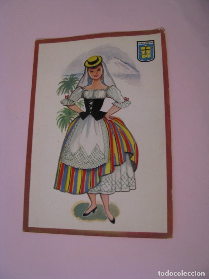 POSTAL DE SANTA CRUZ DE TENERIFE. TRAJES. TIPICA. OSCAR COLOR. Nº 9. BERGAS. (Postales - Dibujos y Caricaturas)