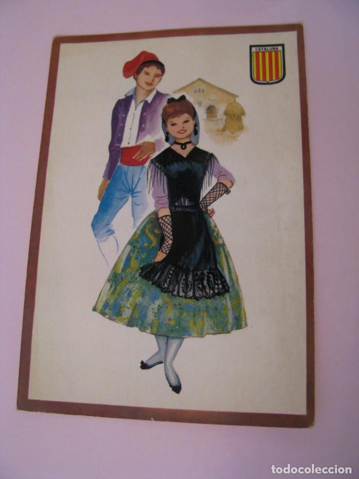 POSTAL DE CATALUÑA. TRAJES. TIPICA. OSCAR COLOR. Nº 2. BERGAS. (Postales - Dibujos y Caricaturas)