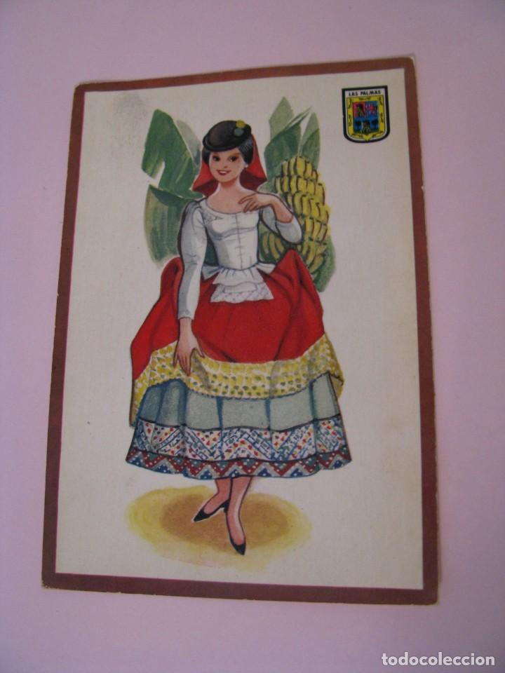 POSTAL DE LAS PALMAS. TRAJES. TIPICA. OSCAR COLOR. Nº 8. BERGAS. (Postales - Dibujos y Caricaturas)