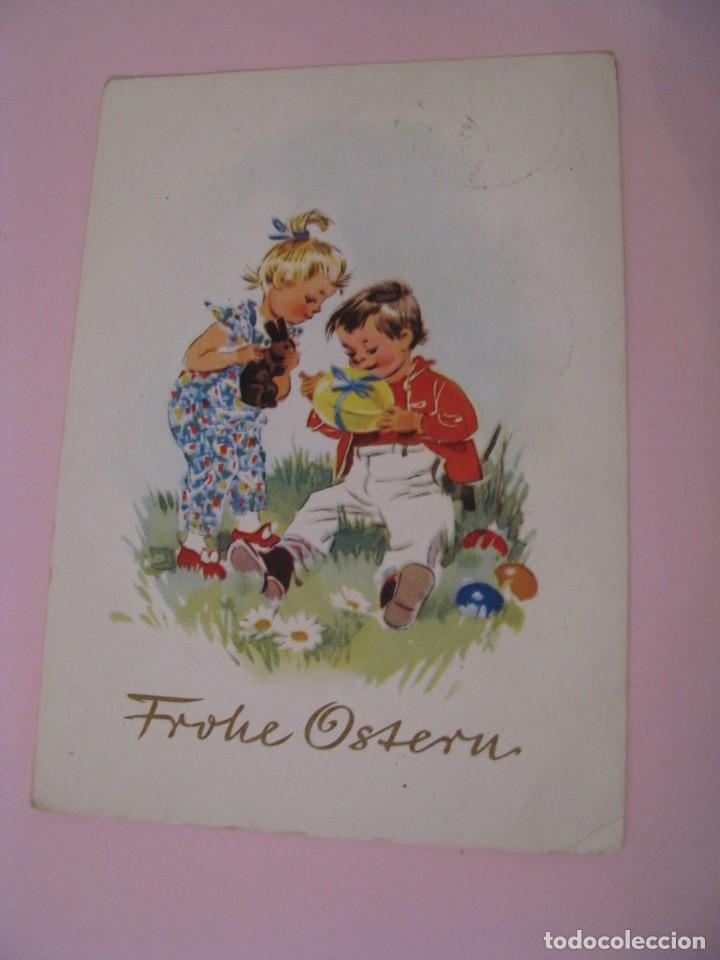 POSTAL DE DRA, DDR, ALEMANIA ESTE. FELICES PASCUAS. FROHE OSTERN. CIRCULADA 1961. (Postales - Dibujos y Caricaturas)