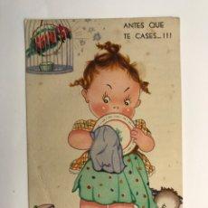 Postales: DIBUJOS Y CARICATURAS. POSTAL, I.G. VALVERDE. EDIC., AGUIRRE NO.11, (A.1945) DEDICADA…. Lote 269292538