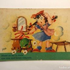 Postales: DIBUJOS Y CARICATURAS, POSTAL ILUSTRADA TRÍO, EDIC. TRIO S/ 40 (H.1945?) DEDICADA…. Lote 269296558