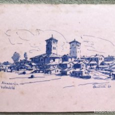 Postales: ALCAZARÉN - VALLADOLID - TARJETA DE FELICITACIÓN AÑO 1966 - DIBUJO ORIGINAL, PINTADA A MANO. Lote 269851463