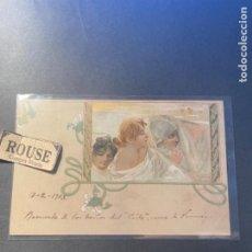 Postales: ANTIGUA POSTAL ILUSTRADA MODERNISTA ITALIANA R.TAFUY CIRCULADA 1903 REVERSO SIN DIVIDIR 14X9 CM.. Lote 270921253