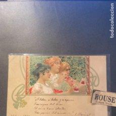 Postales: ANTIGUA POSTAL ILUSTRADA MODERNISTA ITALIANA R.TAFUY CIRCULADA 1903 REVERSO SIN DIVIDIR 14X9 CM.. Lote 270921998