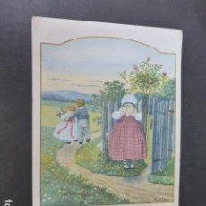 Postales: NIÑA LLORANDO Y PAREJA POSTAL ILUSTRADA PAULI EBNER ILUSTRADORA 1927. Lote 275098818