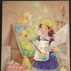 Postales: 7301B - KATERINA BABOK - UN HADA PINTANDO MARIPOSAS - EDICIONES ACARDS.BY- 14,5X10,5 CM. Lote 276438178