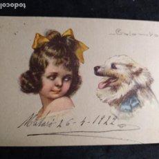 Cartoline: POSTAL COLOMBO * NIÑA MIRANDO A SU PERRITO * AÑO 1922. Lote 277722608