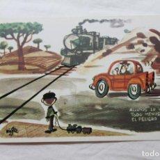 Postales: POSTAL MINGOTE ALGUNOS LO VEN TODO MENOS EL PELIGRO, 1962 D.G. DE LA JEFATURA DE TRAFICO. Lote 278923458