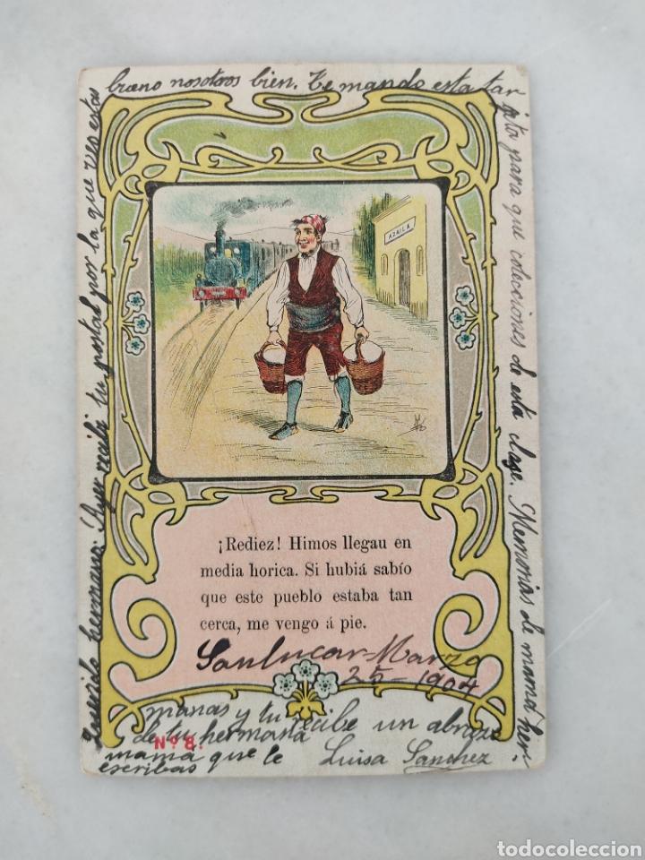 ANTIGUA TARJETA POSTAL ARTÍSTICA ESPAÑOLA CHISTE AZAILA SANLUCAR CIRCULADA 1904 (Postales - Dibujos y Caricaturas)