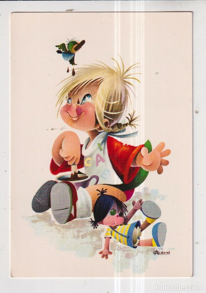 POSTAL DE DIBUJOS DE GABRIEL DE NIÑO COMIENDO CHOCOLATE EDITADA CYZ SIN CIRCULAR (Postales - Dibujos y Caricaturas)