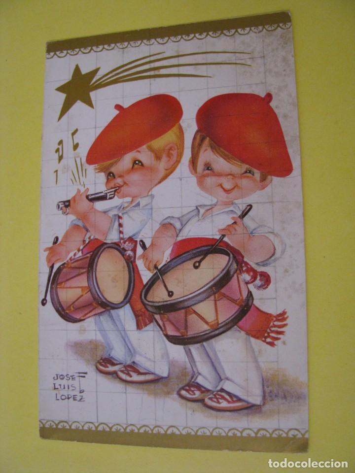 POSTAL DIPTICA DE IL. JOSE LUIS LOPEZ. FOURNIER, SALDAÑA. ESCRITA 1970. 14,5X9 CM. (Postales - Dibujos y Caricaturas)