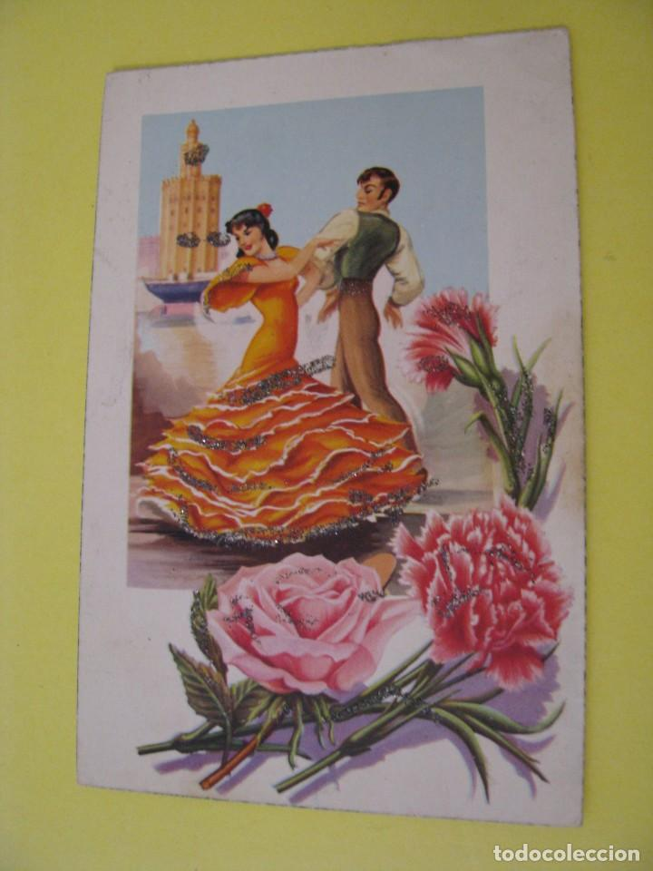 POSTAL DE ED. VELERO, ANCORA?. Nº 2308/E. BAILE FLAMENCO, SEVILLA. PURPURINAS. ESCRITA 1960. (Postales - Dibujos y Caricaturas)