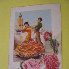 Postales: POSTAL DE ED. VELERO, ANCORA?. Nº 2308/E. BAILE FLAMENCO, SEVILLA. PURPURINAS. ESCRITA 1960.. Lote 289701528