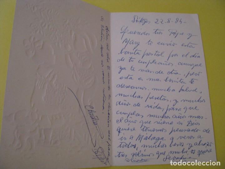 Postales: POSTAL DIPTICA DE ED. GOLDEN. Nº 173. FELIZ CUMPLEAÑOS. 18X11 CM. RELIEVE. ESCRITA 1984. - Foto 2 - 289701708