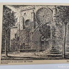 Postales: P-12904.COLECCION DE 8 POSTALES MONASTERIO SAN CUGAT DEL VALLES. DIBUJO DE JULIO PASCUAL SOLÉ. 1952.. Lote 295274798
