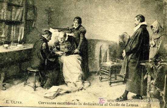CERVANTES ESCRIBIENDO LA DEDICATORIA AL CONDE DE LEMUS- LACOSTE - MADRID - SIN USAR (Postales - Postales Temáticas - Dibujos originales y Grabados)