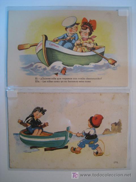 LOTE POSTALES ILUSTRADAS BARCOS: (84, 113) (Postales - Postales Temáticas - Dibujos originales y Grabados)