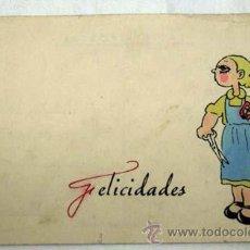 Postales: TARJETA FELICIDADES CON NIÑA COLOREADA A MANO. Lote 14848760
