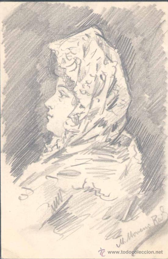 1902.-POSTAL FIRMADA Y DIBUJADA POR MANUEL MORENO RODRIGUEZ,PINTOR Y DIBUJANTE PPIOS S.XX (Postales - Postales Temáticas - Dibujos originales y Grabados)
