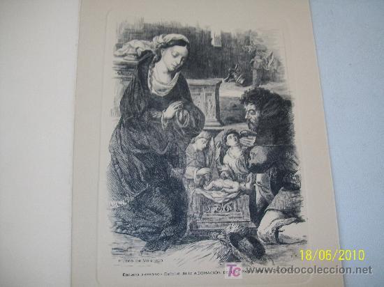 DOBLE Y USADA-CON GRABADO ( IMPRESO) DE : DETALLE DE LA ADORACIÓN- 1959- - 16.5 X 12.5 CM CERRADA (Postales - Postales Temáticas - Dibujos originales y Grabados)