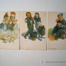 Postales: LOTE 3 POSTALES ILUSTRADAS TIPOS CATALANES - TUSELL. Lote 20365078