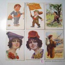Postales: LOTE 6 POSTALES ILUSTRADAS - TIPOS CATALANES. Lote 21029526