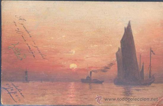 POSTAL PINTADA A MANO.- AÑO 1906. (Postales - Postales Temáticas - Dibujos originales y Grabados)