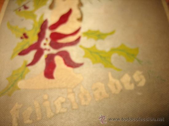 Postales: FELICIDADES EN TELA PINTADA A MANO - Foto 3 - 23405573