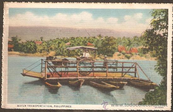 TRANSPORTE MARITIMO. FILIPINAS. VER DORSO CON SELLO. MUY ANTIGUA (Postales - Postales Temáticas - Dibujos originales y Grabados)