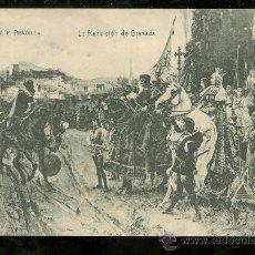 Postales: TARJETA POSTAL DE F. PRADILLA. LA RENDICION DE GRANADA. Nº 40. LACOSTE.. Lote 26078842