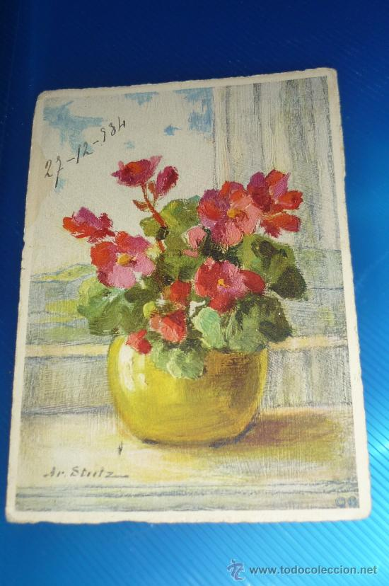 POSTAL FLORES (Postales - Postales Temáticas - Dibujos originales y Grabados)
