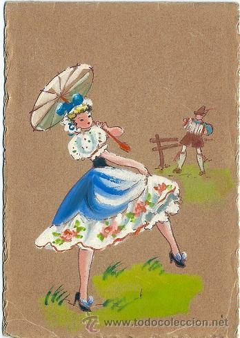 8753B - PRECIOSA POSTAL PINTADA A MANO - CERRADA MIDE 12,5 X 8,5CM (Postales - Postales Temáticas - Dibujos originales y Grabados)