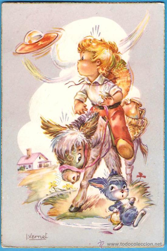 POSTAL CYZ CON DIBUJOS DE I. VERNET SERIE 544/B NUEVA, AÑOS 50 (Postales - Postales Temáticas - Dibujos originales y Grabados)