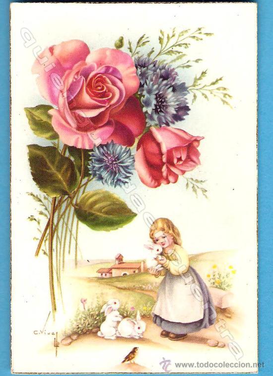 POSTAL DE CYZ AÑOS 50 SERIE 559/A DIBUJO DE CARLES VIVES, CON DOS MOTIVOS. (Postales - Postales Temáticas - Dibujos originales y Grabados)