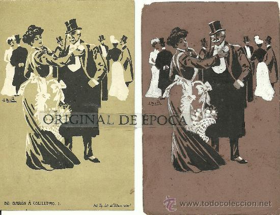 (PS-23780)POSTAL Y DIBUJO ORIGINAL DE ILUSTRADOR V.BUIL SERIE DE BARON A COLILLERO (Postales - Postales Temáticas - Dibujos originales y Grabados)