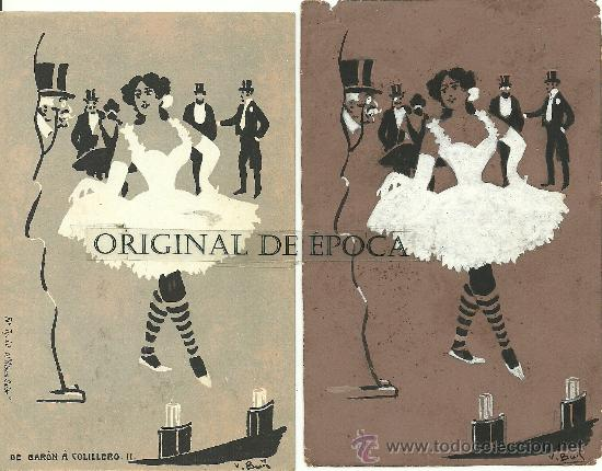 (PS-23779)POSTAL Y DIBUJO ORIGINAL DE ILUSTRADOR V.BUIL SERIE DE BARON A COLILLERO (Postales - Postales Temáticas - Dibujos originales y Grabados)
