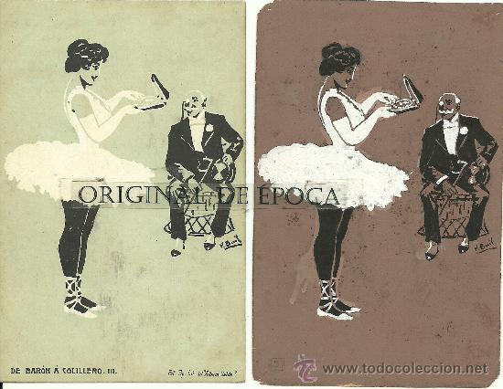 (PS-23778)POSTAL Y DIBUJO ORIGINAL DE ILUSTRADOR V.BUIL SERIE DE BARON A COLILLERO (Postales - Postales Temáticas - Dibujos originales y Grabados)