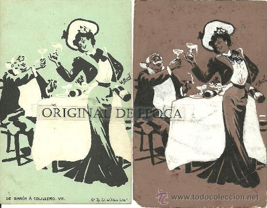 (PS-23776)POSTAL Y DIBUJO ORIGINAL DE ILUSTRADOR V.BUIL SERIE DE BARON A COLILLERO (Postales - Postales Temáticas - Dibujos originales y Grabados)
