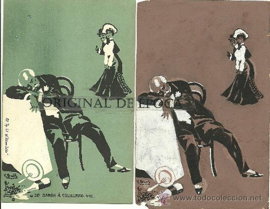 (PS-23775)POSTAL Y DIBUJO ORIGINAL DE ILUSTRADOR V.BUIL SERIE DE BARON A COLILLERO (Postales - Postales Temáticas - Dibujos originales y Grabados)