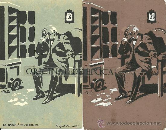 (PS-23774)POSTAL Y DIBUJO ORIGINAL DE ILUSTRADOR V.BUIL SERIE DE BARON A COLILLERO (Postales - Postales Temáticas - Dibujos originales y Grabados)