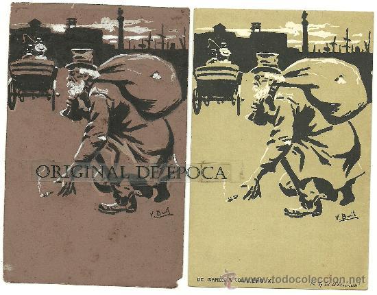(PS-23773)POSTAL Y DIBUJO ORIGINAL DE ILUSTRADOR V.BUIL SERIE DE BARON A COLILLERO (Postales - Postales Temáticas - Dibujos originales y Grabados)